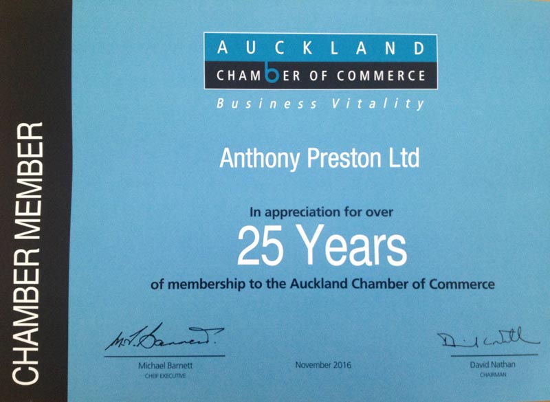 Auckland Chamber Commerce 25 years